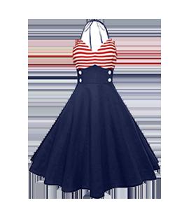 Suknelė Mėlyna-Raudona
